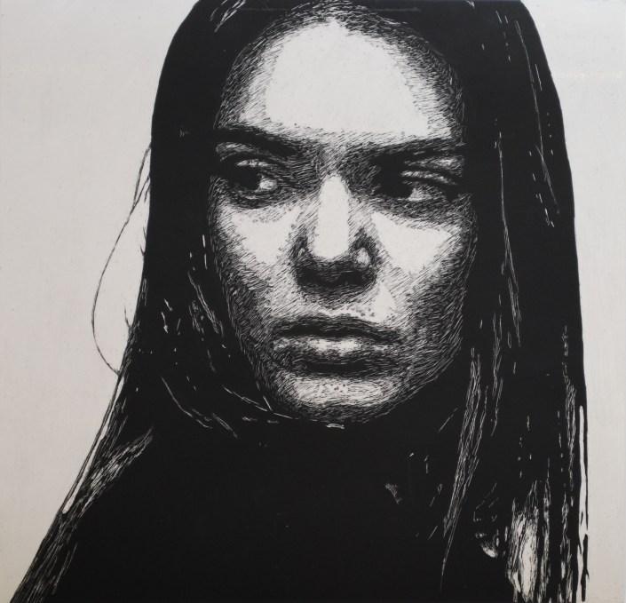 k. by Brielle Macleod - Scratchboard