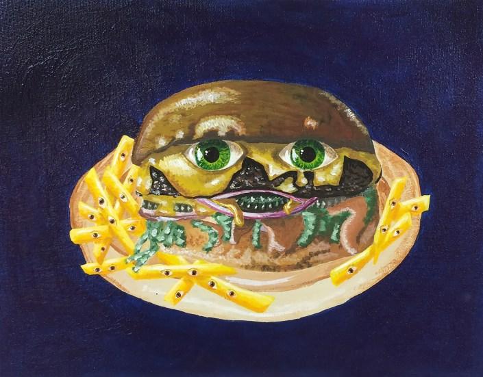 Greasy Personality by Sophia Menjivar - Acrylic on Canvas Board