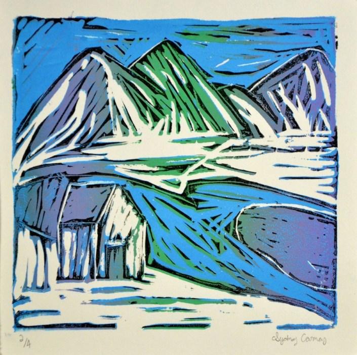 Silver Key: Alaska, by Sydney Carney - Linoleum Block Print (Printmaking - Mr. Unrein)