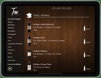 Carte vins tablette COENA