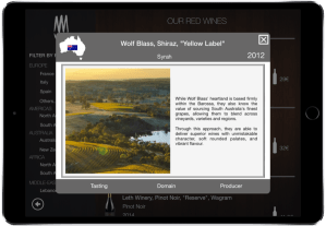 Wine menu list tablet