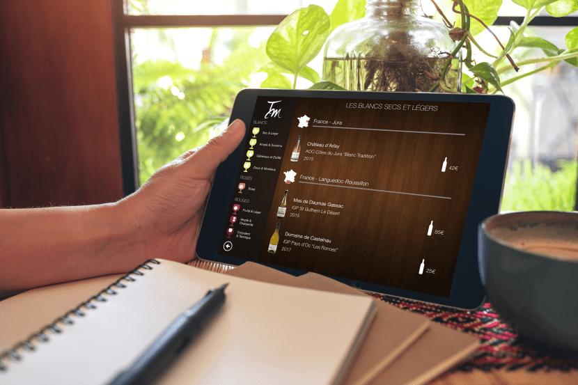 Carte vins tablette iPad gestion inventaire