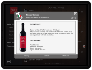 Wine List iPad Tasting notes Matching courses
