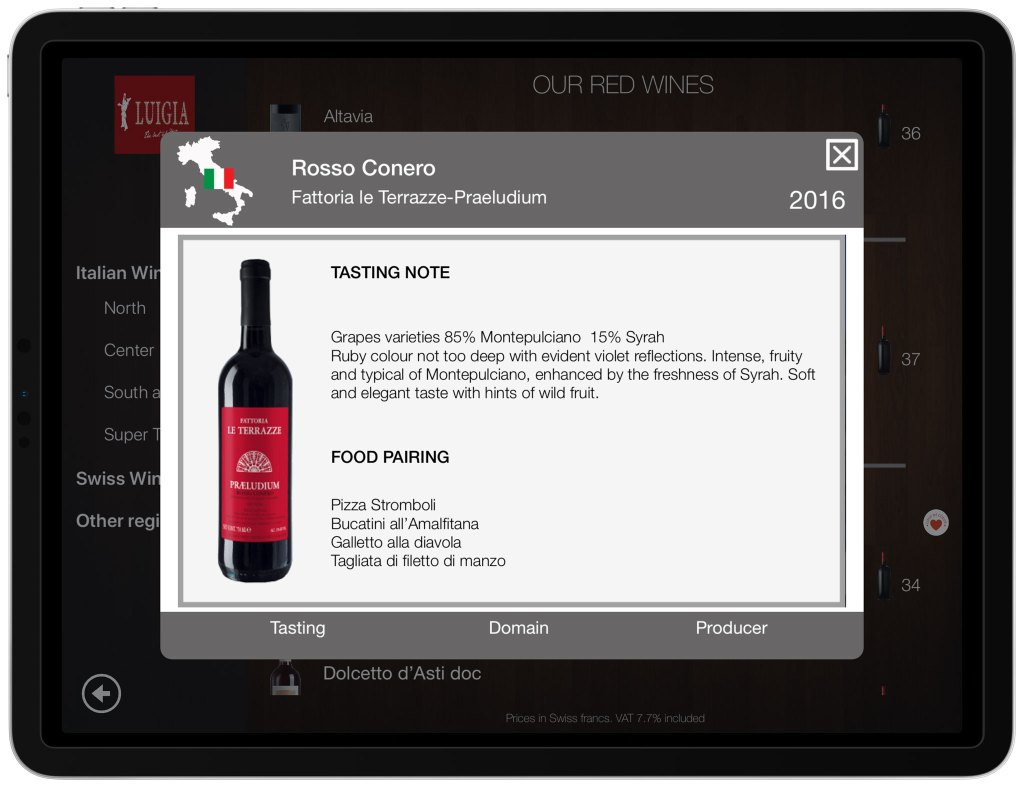 Wine tasting notes food pairing iPad italian restaurant LUIGIA