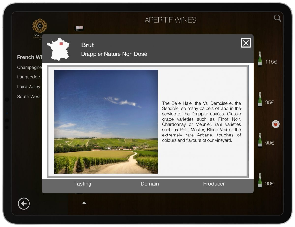 Winery Domain Wine List iPad