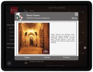 Wine producer description and photo iPad italian restaurant