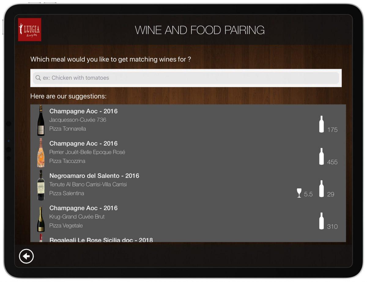 Wine Food Pairing List iPad