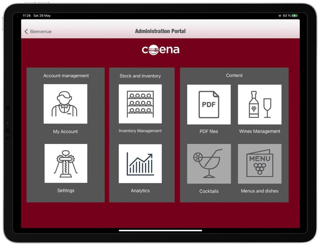 Administration interface Wine List on iPad