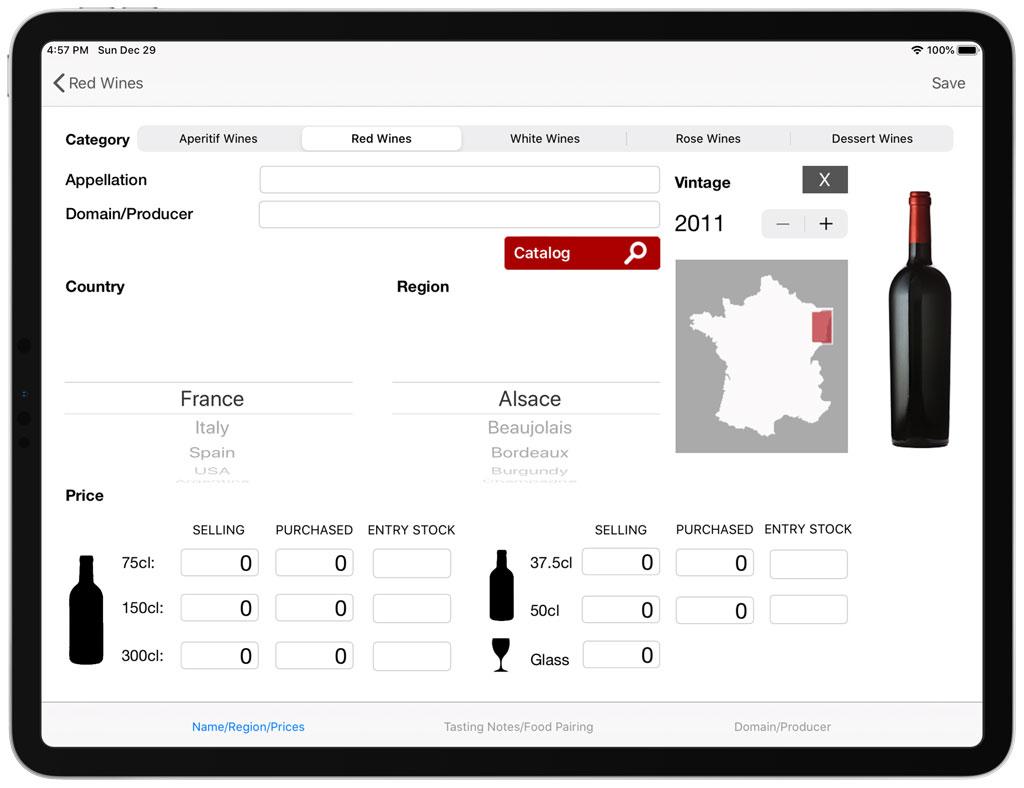 Editing wine information details on iPad