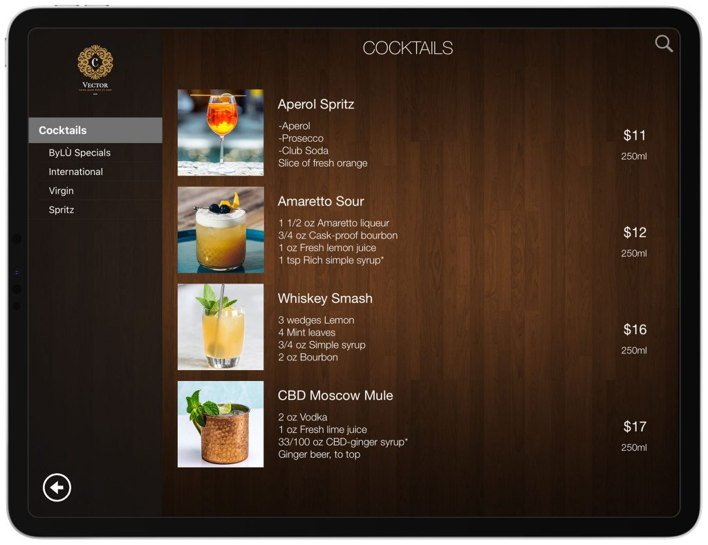Liste Cocktails tablette iPad