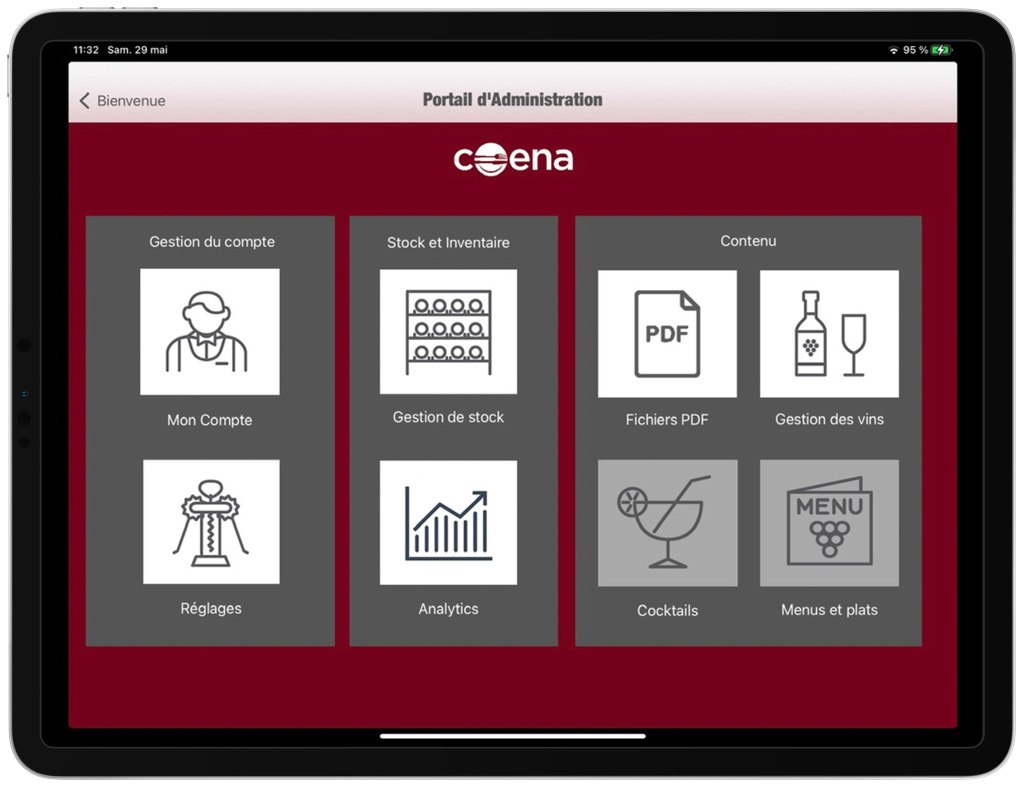 Interface administration vins carte iPad
