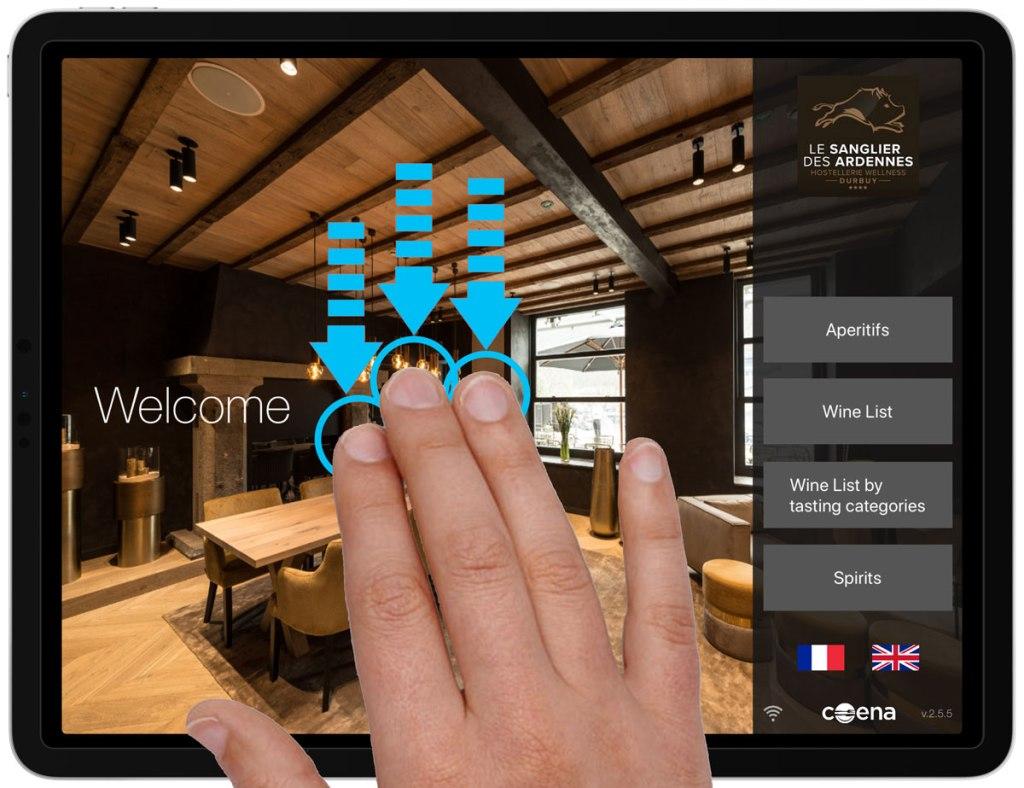 Accès Interface d'Administration Carte des vins iPad
