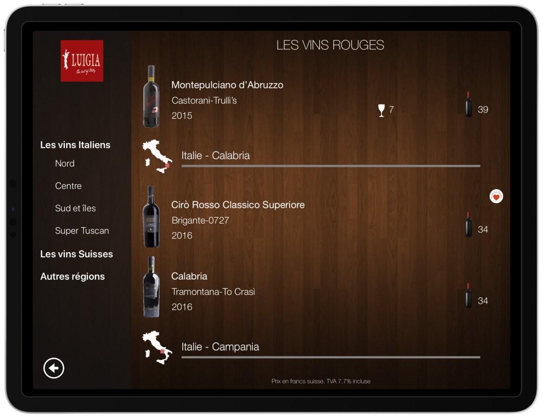 Wine List Navigation per Italian regions