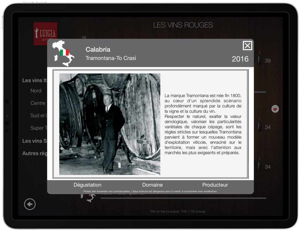 Description du viticulteur exploitant carte vins numérique iPad