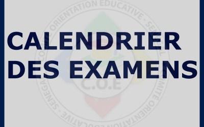 Communiqué : Calendrier des examens (CFEE; BFEM; BAC et Examens professionnels)