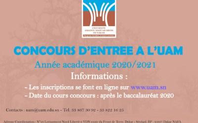 Date et lieu du concours d'entrée à l'Université Amadou Mahtar Mbow