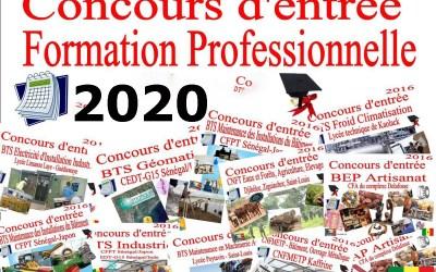 Calendrier dates des  concours professionnels ; Session 2020
