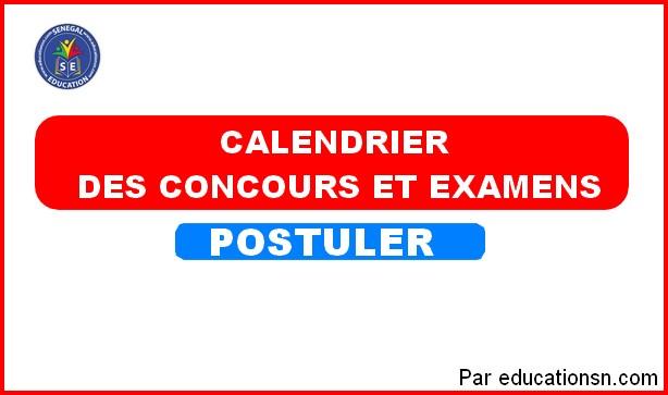 Calendrier Général des Examens et Concours au Sénégal  Session