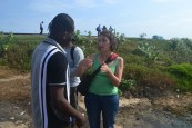 Professor Emily Schroyer speaks with students