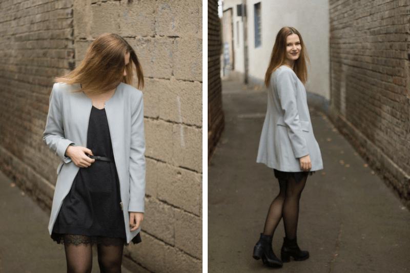 Outfit Strickkleid Spitze und Pastell 5