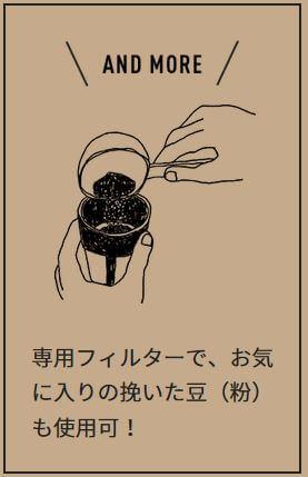挽いた豆(粉)も使用可