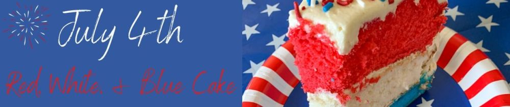 red white and blue cake with link to recipe