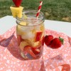 Strawberry pineapple water in mason jar