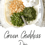 green goddess dip in plastic bowl