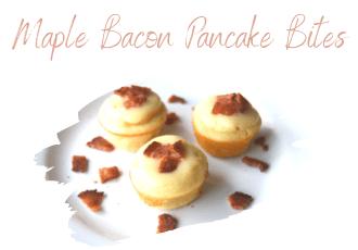 maple bacon pancake bites on white plate
