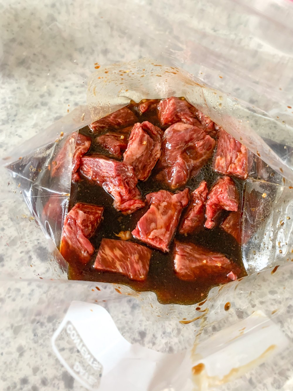steak cubed in bag with teriyaki marinade
