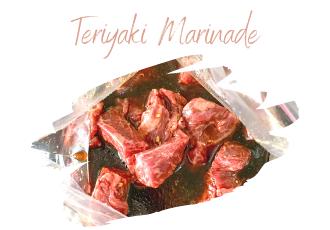 Cubed steak in bag with teriyaki marinade