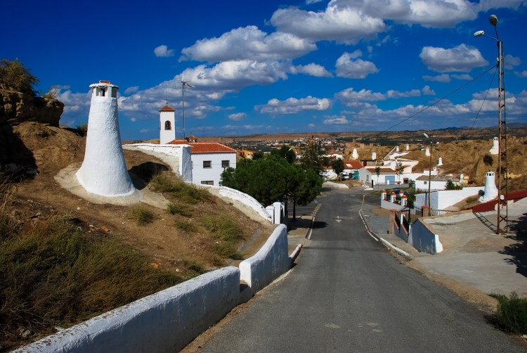 Almost Hobbit land, the Guadix residents live in subterranean caves, evident from the white chimneys that pop-up everywhere.