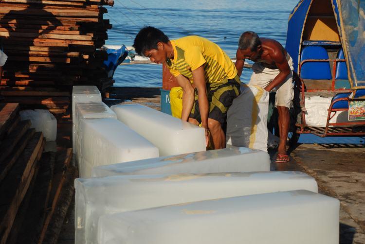 Blocks of ice, port, Philippines