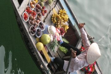 Boat fruit seller, Halong Bay, Vietnam