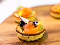 Smoked Salmon, Avocado, Cucumber on Mini Olive Panini