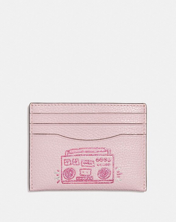 Coach x Keith Haring Pink Leather Heart Card Case