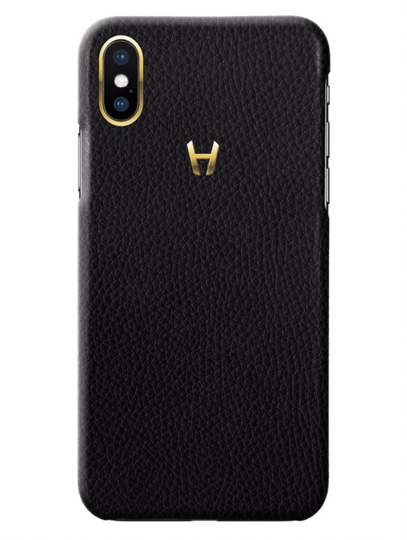 Hadoro Black Calfskin Grained Leather Case for iPhone X