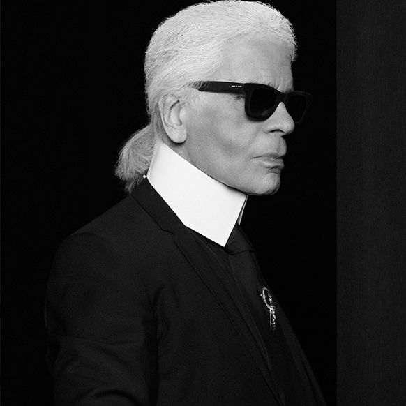 Black and White Portrait of Fashion Designer Karl Lagerfeld