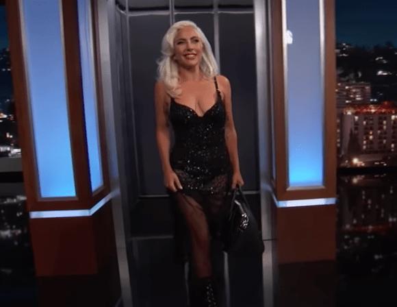 Lady Gaga on Jimmy Kimmel Live with her Oscar inside her Givenchy Antigona
