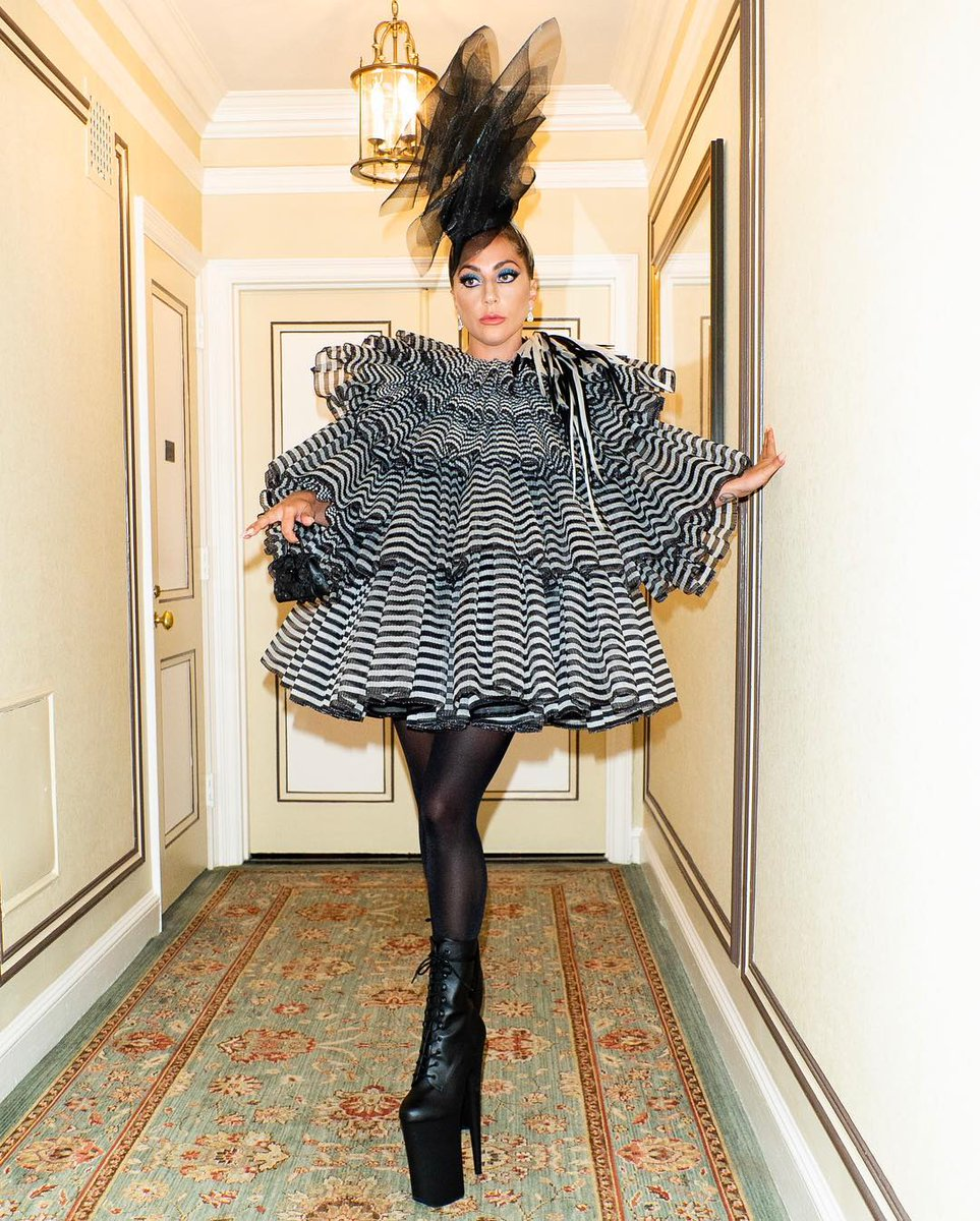 Lady Gaga's Pre-Met Gala Outfit -- Marc Jacobs dress, Delvaux bag, Pleaser shoes