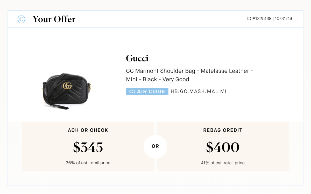 Rebag Clair offer for Gucci Marmont bag