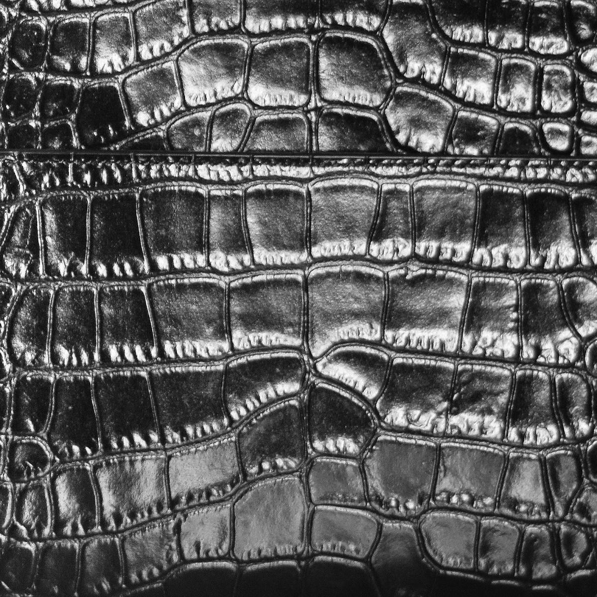 embossed croc print leather