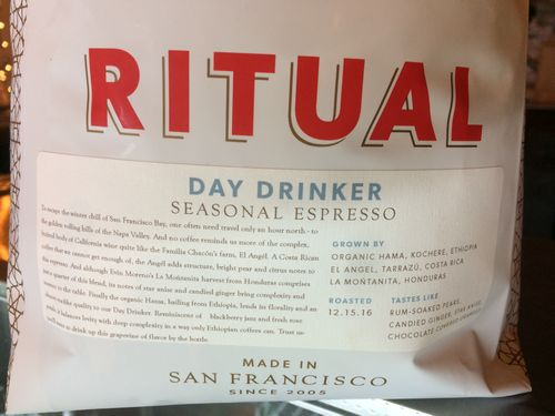 Review: Ritual Coffee Roasters Day Drinker Seasonal Espresso (San Francisco, California)
