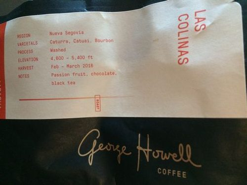 Review: George Howell Coffee Nicaragua Las Colinas (Boston, Massachusetts)