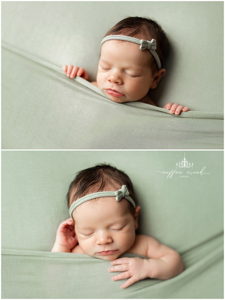 Indianapolis newborn photographer baby girl in green