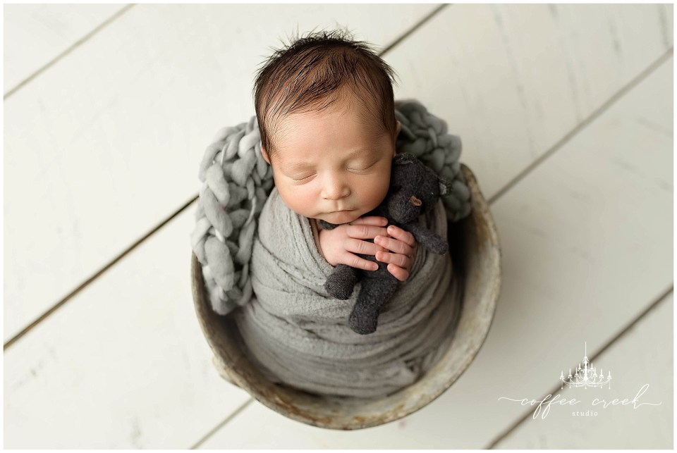 Indianapolis newborn photographer baby boy with bear