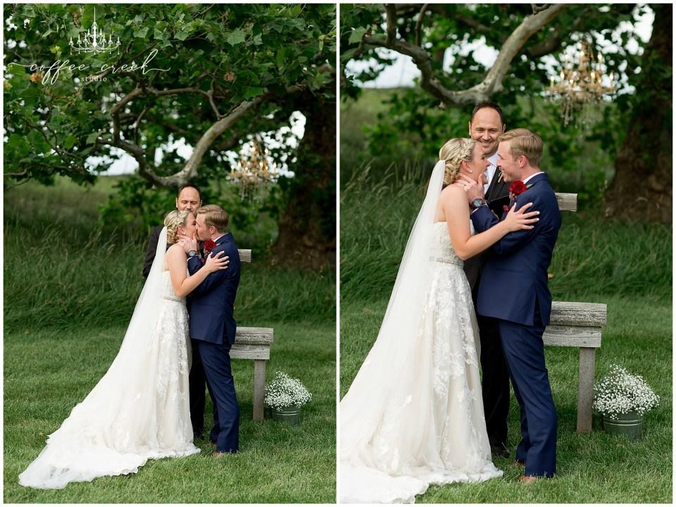 bride and groom ceremony at barn venue wedding