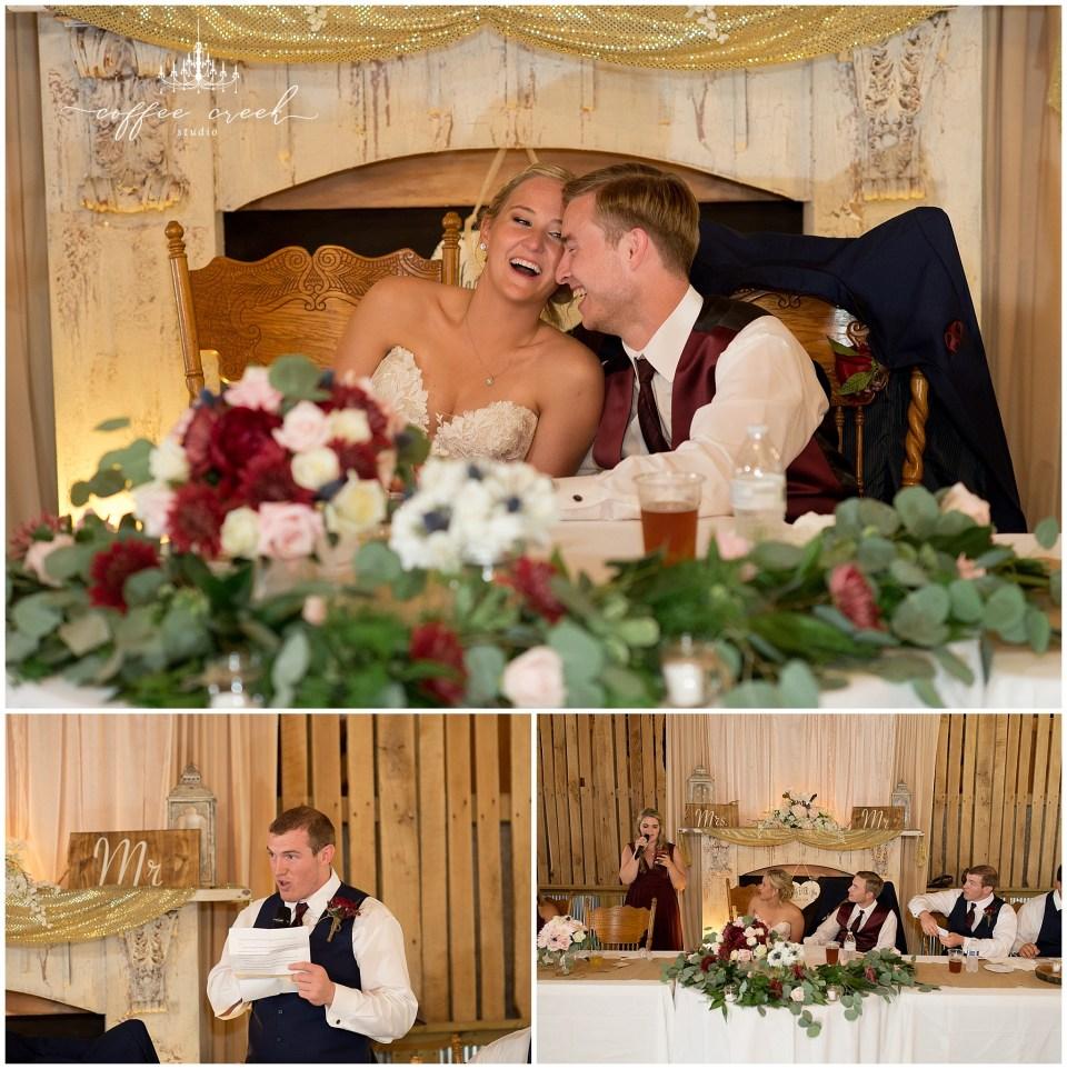 reception toasts at barn venue wedding