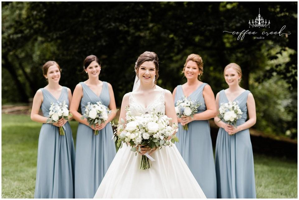 Bride and bridesmaids at Laurel Hall Wedding