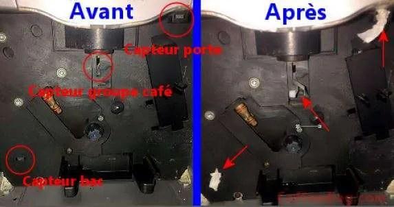 capteur switch électrique de porte bac et groupe café